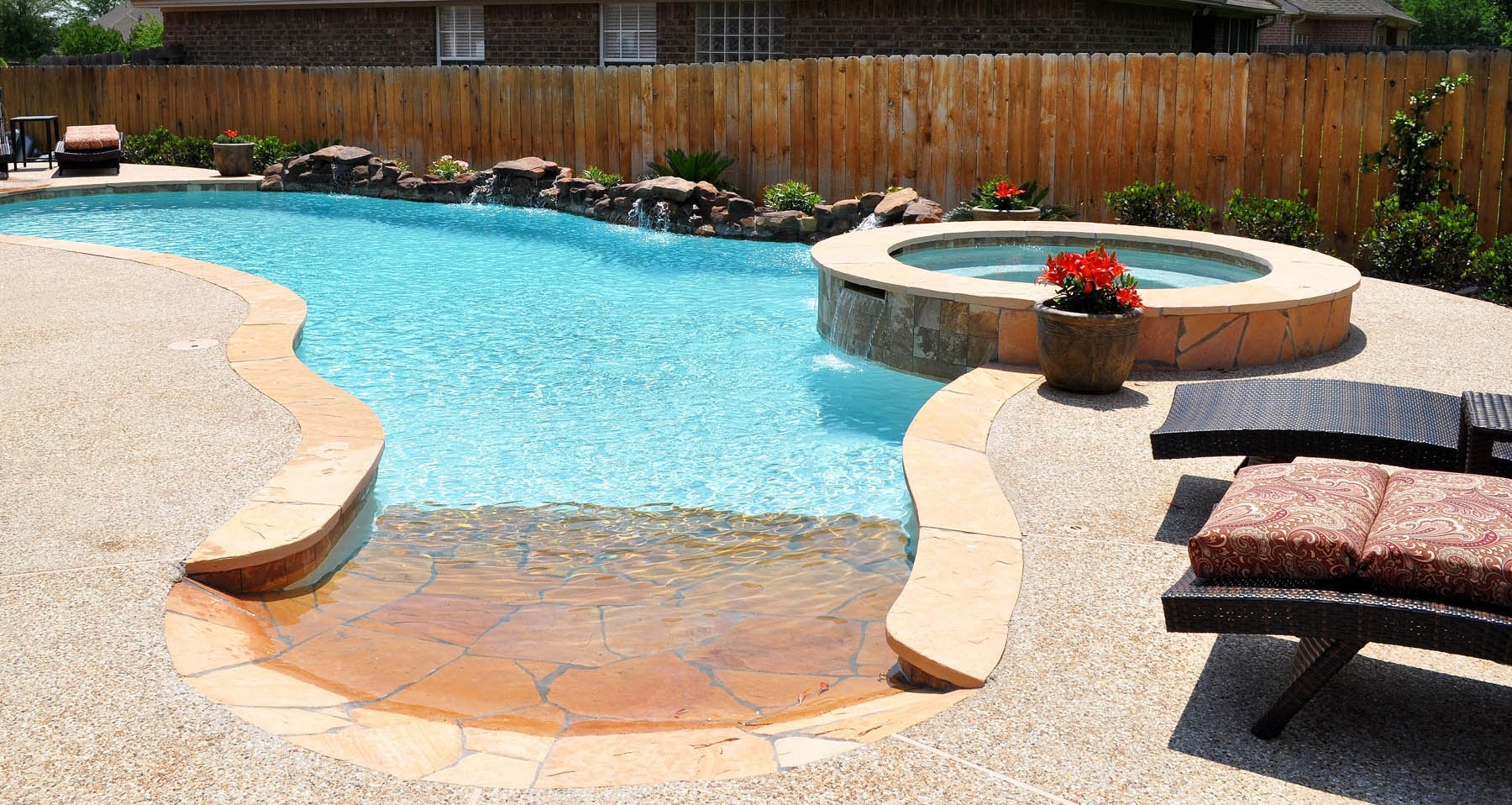 Beach Entry Swimming Pool Designs. Backyard Beach Entry Pool And
