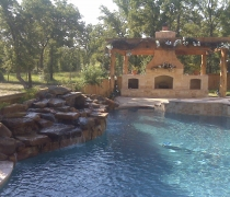Outdoor-Fireplace-with-Gazebo-and-Waterfall