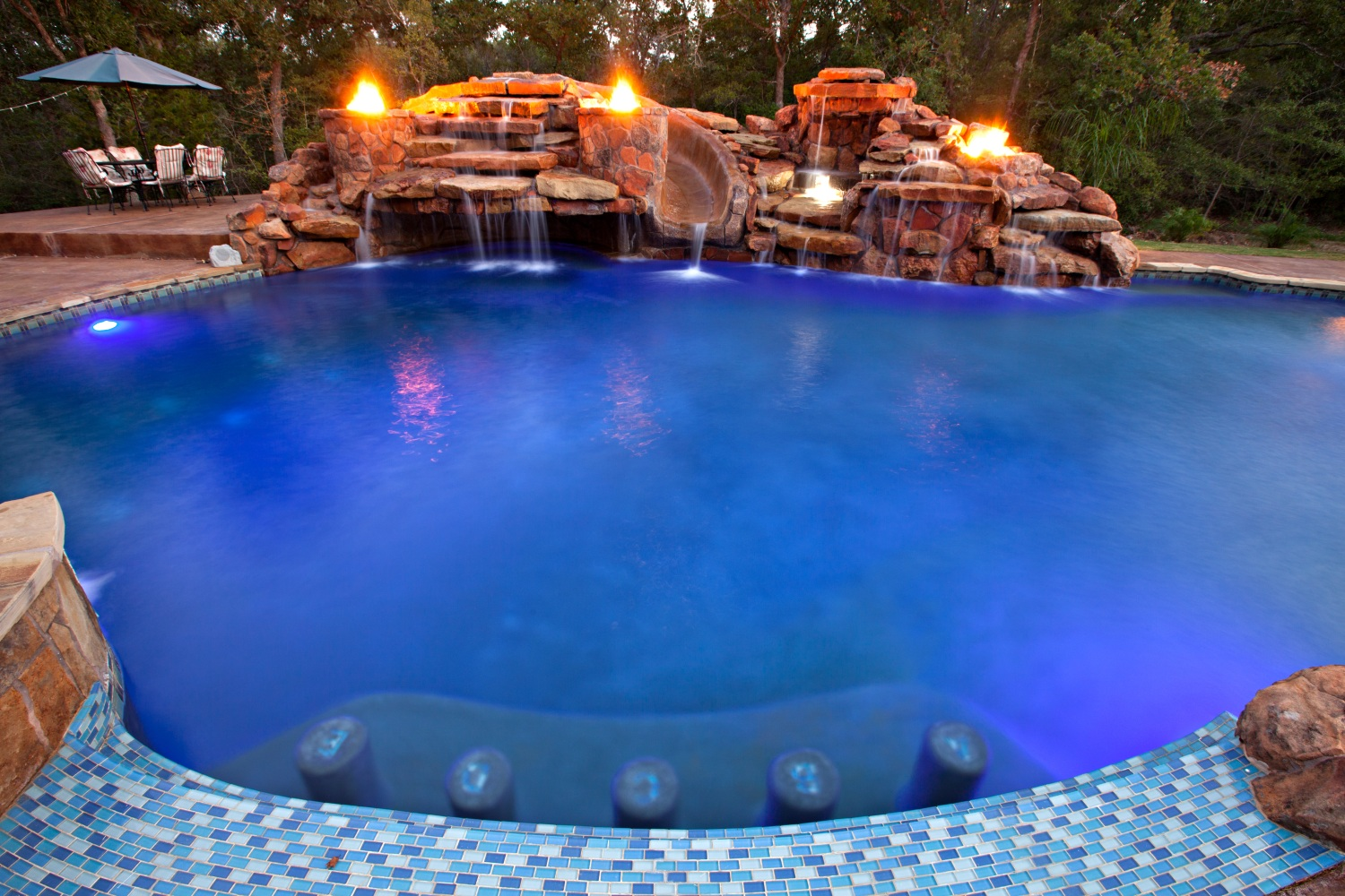 custom pool fire bowls slide waterfall sundeck jets - Cool Pools With Waterfalls And Slides