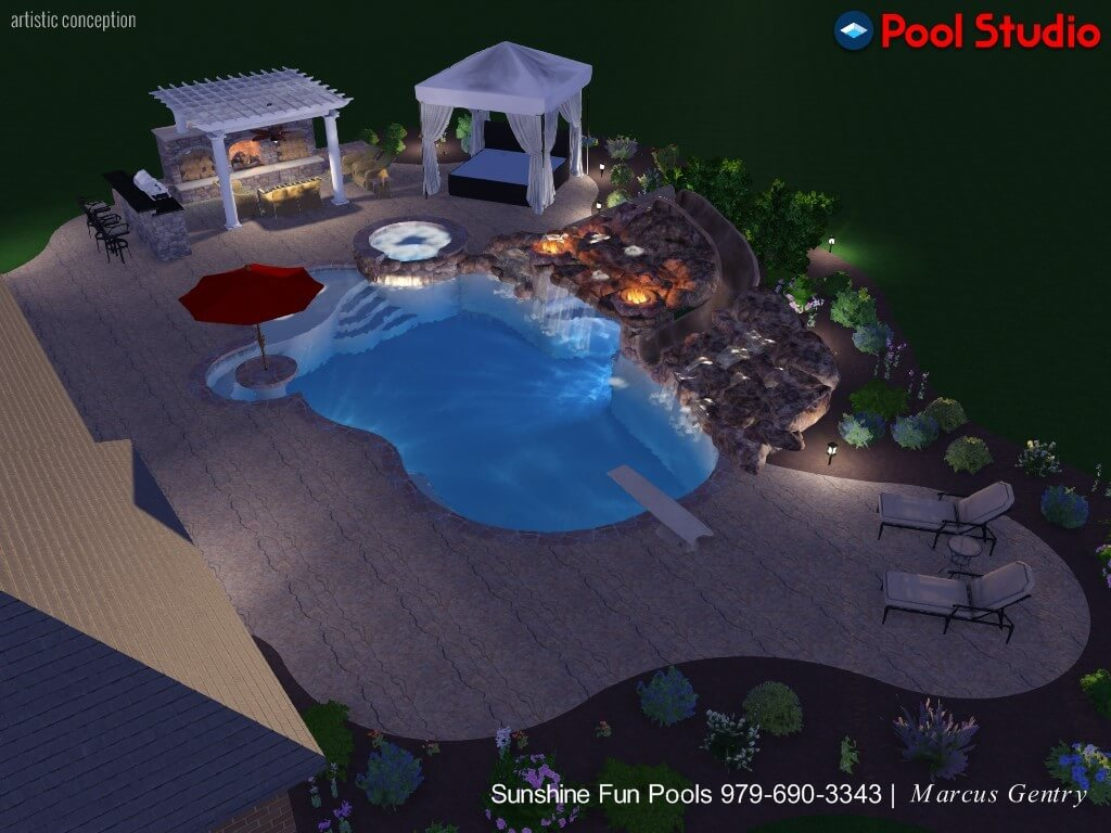 A full-color, 3D artistic rendering of a pool, spa, and outdoor living space.