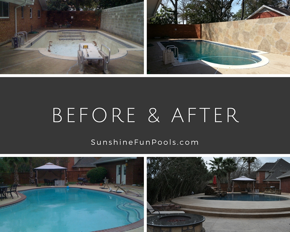 Before and after montage of pool remodels.