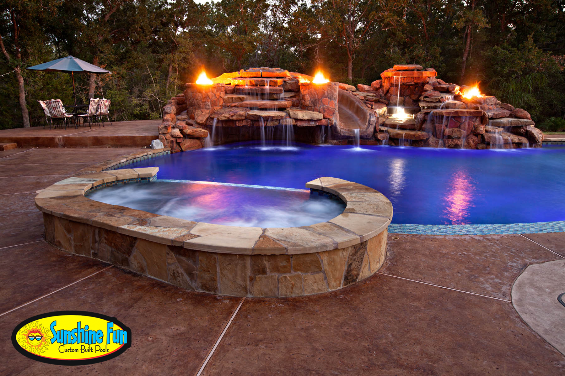 Fire features for your outdoor living space sunshine fun - Pool fire bowls ...